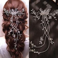 F-0903 European And American Gorgeous Fashion Crystal Rhinestone Long Hair Comb Bridal Hair Accessories Wedding Headdress Veil Jewelry