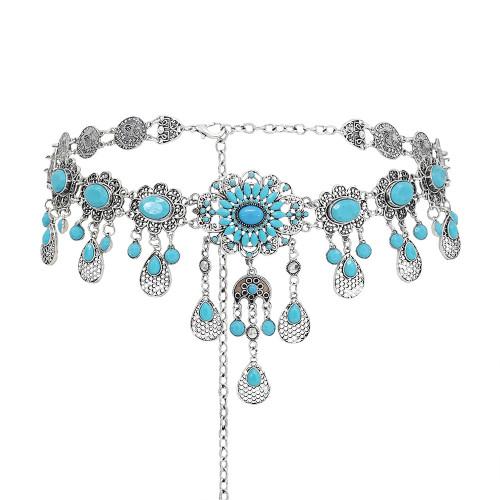 N-7573 Bohemian Vintage Blue Acrylic Beads Water Drop Flower Belly Waist Chains Dance Dress Belts for Women Party Jewelry