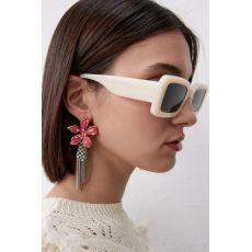 E-6158 Hawaiian Silver Fashion Jewelry Earrings Cute Dangle Red Floral Flower Pearl Drop Earring Stud For Women