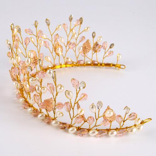 F-0907 Fashion Wedding Headband Pearl Headpiece Crystal Pearl Hair Vine Flower Halo Bridal Hair Accessories