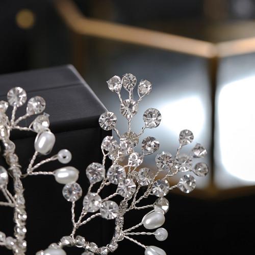 F-0906 Gorgeous bridal headdress European and American fashion crystal pearl branches and leaves headband handmade woven rhinestone wedding hair accessories