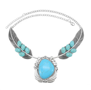 N-7576 Fashion Bohemian Ethnic Silver Metal Carved Feather Turquoise Pendant Retro Necklace New Gypsy Tribe Party Jewelry Gift