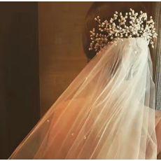 F-0910 Gorgeous bridal pearl hand-woven hair accessories wedding dress silver hair fork hair comb headdress
