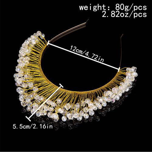 F-0908 Luxury Gold Color Rhinestone Flower Leaf Hairbands Crowns Tiaras for Bridal Wedding Hair Accessories