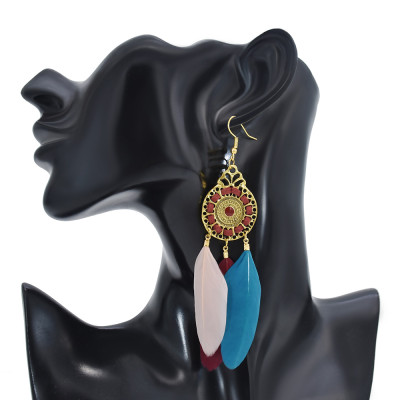 E-6160 Vintage Bohemian Indian Feather Earring Gold Plated Alloy Leaf Pendant Magnetic Drop Dangle Earrings