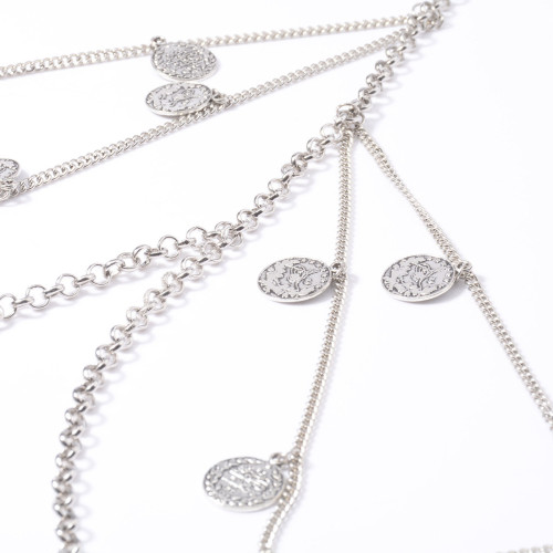 N-7578 Vintage Silver Chain Coin Pendant Multilayer Leg Chain Fashion Bohemian Summer Beach Party Anklet Sexy Jewelry Gift