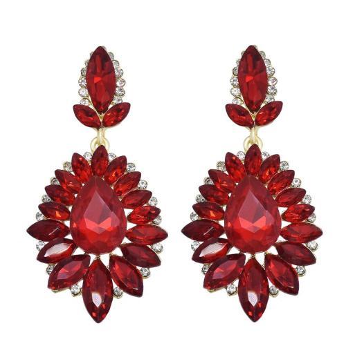 E-4062  7 Colors Luxury Drop Earring Inlay Crystal Rhinestone Dangle Long Earrings For Women Jewelry