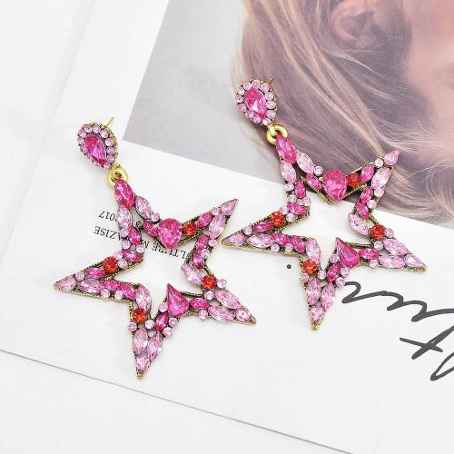 E-6165 Inlaid pink black color rhinestone five-pointed star shape geometric earrings for women Fashion Bohemian shiny jewelry gift