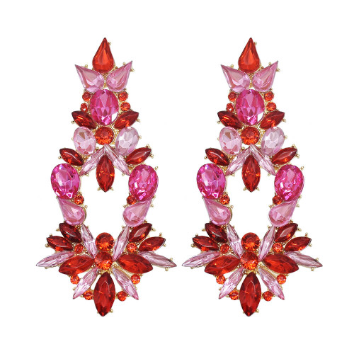E-6166 Luxury Bridal Colorful Crystal Flower Drop Earrings For Women Wedding Party Holiday Jewelry Gift
