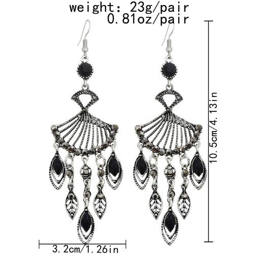 E-6169 Fashion Retro Silver Plated Bridal Geometric Cubic Zirconia Rhinestone Tassel Wedding Chandelier Earrings Jewelry