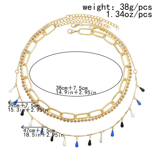 N-7579 3Pcs/Set Fashion Water Drop Colorful Beads Choker Clavicle Necklaces for Women Boho Summer Holiday Party Jewelry