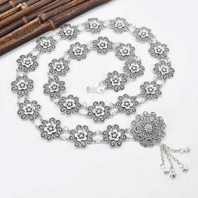 N-7582 Bohemian Vintage Silver Flowers Tassel Bells Body Chain for Women Indian Ethnic Dance Waist Chain