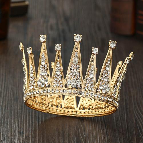 F-0896 New European and American luxury crystal bridal crown wedding round crown hair accessories birthday princess crown tiara