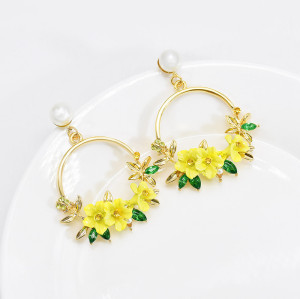 E-6175 Japanese And Korean Style Cute Round Flower Drop Earrings For Women Gold-Plated Pearl Circle Earrings Jewelry Gift For Girls