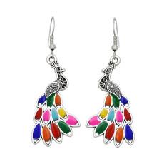 E-6177 Vintage Multicolors Drip Oil Enamel Peacock Drop Earrings For Women Boho Ethnic Indian Party Jewelry Gift