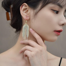 E-6178 Long Tassel Inlaid With Crystals And Pearls Drop Earrings For Women Shiny White Blue Chain Pendant 2021 Trendy Jewelry Gift