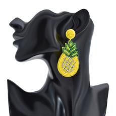 E-6180 New Hawaiian Jewelry Wholesale Fruit Beaded Jewellery Women 925 Silver Plated Pineapple Beaded Earrings Jewelry
