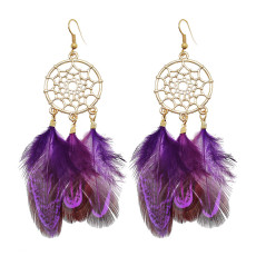 E-6182 Ethnic Gold Hollow Metal Bohemian Feather Drop Dangle Earrings for Women Festival Holiday Party Jewelry Gift