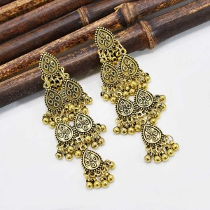 E-6184 Ethnic Gold Carved Triangle Ladies Earrings Bijoux Vintage Bohemia Tibetan Round Alloy Tassel Earrings Tribe Indian Jewelry