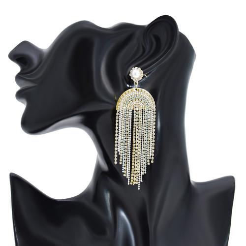 E-6185 Long Tassel Inlaid Crystal White Pearl Black Acrylic Drop Earrings For Women Shiny White Black Chain Pendant 2021 Fashion Jewelry Gift