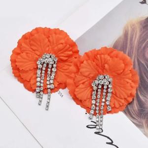 E-6189 Fashion Jewelry  Women Hot Selling Jewelry Bohemian Double Flower Rhinestone Tassel Stud Earrings
