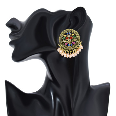 E-6191 Bronze Metal Carved Drop Oil Rhinestone Round Artificial Pearl Tassel Jhumka Jhumki Drop Earrings For Women Vintage Indian Bridal Jewelry
