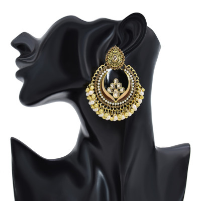 E-6193 Fashion Gold Metal Earring Wedding Tibetan Jewelry Retro Bohemian Tribe Colorful Stone Hanging Earrings For Women