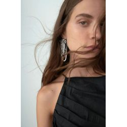 E-6195 Big Vintage Silver Metal Crystal Rhinestone Long Tassel Drop Earrings for Women Bridal Wedding Party Gift