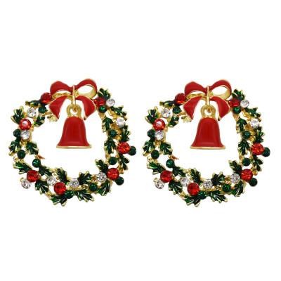 E-6198 New Cute Crystal Enamel Bells Drop Earrings for Women Girl Christmas Jewelry New Year Gifts