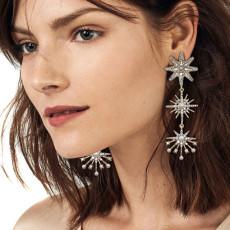 E-6201 Fashion Luxury Style Simple Design Gold Plated Rhinestone Crystal Three Stars Long Tassel Drop Earrings