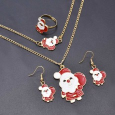 N-7586 Cute Christmas Jewelry Set Christmas Tree Santa Claus Elk Bell Necklace Earring Ring Bracelet  For Women Girls New Year Gift
