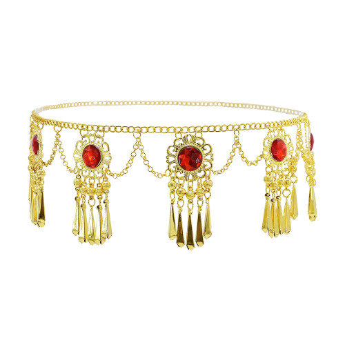 N-7588 Thailand Gold Metal Red Crystal Dress Belt Belly Dance Waist Chains for Women Boho Festival Party Body Jewelry