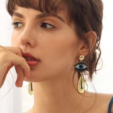 E-6205 Fashion Big eye-shaped female earrings gold alloy square earrings rhinestone eye pendant fashion jewelry gifts