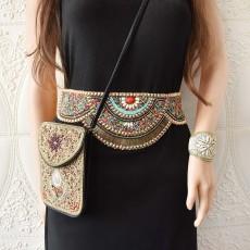 S-0101 Ethnic Bohemian Turquoise Resin Beads Belly Waist Chains Bracelet Set for Women Belt Waistbands Handmade Jewelry