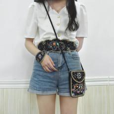 S-0103 Bohemian Ethnic Belt Bracelet Shoulder Bag Set Black Resin Beads Elastic Waist Chain Black Pu Leather Body Jewelry