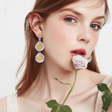 E-6209 Fashion Luxury Style Simple Design Earring Round Alloy Flowers Plated Rhinestone Red Purple Long Tassel Drop Earrings