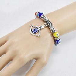 B-1131 Evil Eye Lucky Acrylic Crystal Stone Strand Elastic Bracelets For Women Men Party Jewelry Gift
