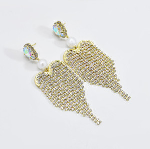 E-6211 Fashion Luxury Bling Gold Acrylic Beads Crystal Big Long Tassel Earrings For Women Bridal Wedding Party Jewelry