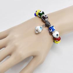 B-1132 Artificial Stone Blue Color Beaded Evil Eye Bracelet For Women Men Crystal Isolation Beads Elastic Adjustable Charm Bracelet Fashion Jewelry