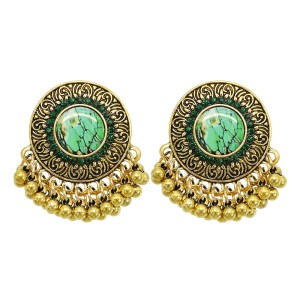 E-6214 Metal Carved Rhinestone Gold Color Round Tassel Drop Earrings For Women Vintage Indian Bridal Jewelry