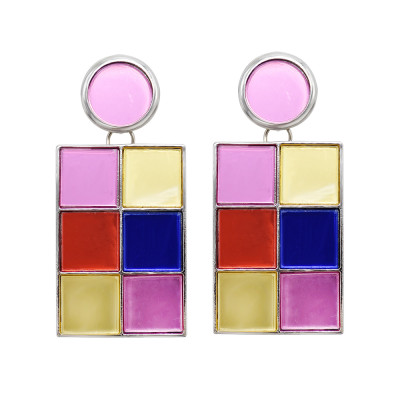 E-6215 New Fashion Colorful Geometric Mirror Acrylic Drop Earrings for Women Boho Holiday Party Jewelry Gift