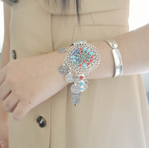 B-1133  Fashion Retro Bohemian Gold Metal Chain Hand Harness Color Bracelets for Women Party Punk Jewelry