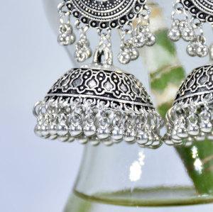 E-6221 Classic Women Indian Jhumka Gypsy Jewelry Sliver Boho Earrings Vintage Ethnic Hollow Tassel Bell Earrings For Women