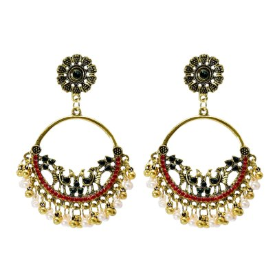 E-6224 Colorful Round Rhinestone Earrings For Women Pendant Jewelry Indian Earring Dangle Pearl Beads Ear Rings For Girl New Year Gifts