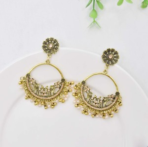 Colorful Round Rhinestone Earrings For Women Pendant Jewelry Indian Earring Dangle Pearl Beads Ear Rings For Girl New Year Gifts