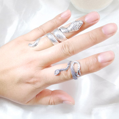 R-1549 Vintage Silver Lacquer Jewelry Snake Pattern Custom Silver Ring Antique Silver Adjustable Alloy Snake Ring