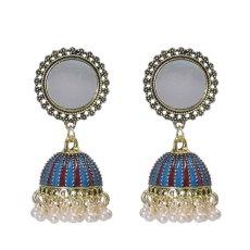 E-6226 Vintage Gold Metal Mirror Enamel Pearl Beads Tassel Drop Dangle Earrings for Women Boho Indian Party Jewelry