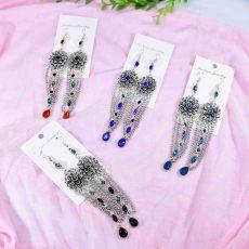 E-6229 Vintage Metal Rhinestone Beads Flowers Tassel Drop Dangle Earrings for Women Boho Indian Style Party Jewelry