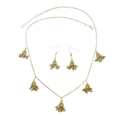 N-7592 High Quality Gold Silver Plated Jewelry Women Jewelry Set Vintage Bell Tassel Pendant Earrings and Necklace Set Jewelry Set