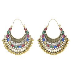 E-6230   Indian Gold Metal Crystal Bells Tassel Drop Jhumka  Earrings for Women Boho Party Jewelry Gift